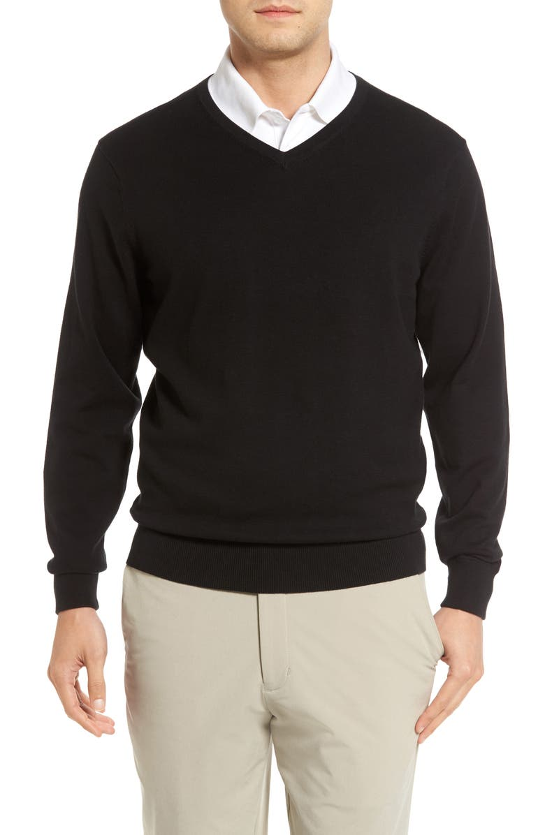 CUTTER & BUCK Lakemont V-Neck Sweater, Main, color, BLACK