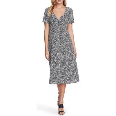 1.state Floral Folk Silhouette Button Front Midi Dress, Black