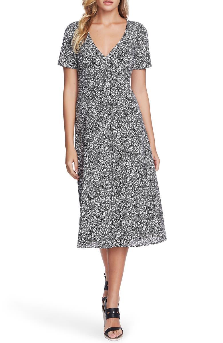 1.STATE Floral Folk Silhouette Button Front Midi Dress, Main, color, RICH BLACK