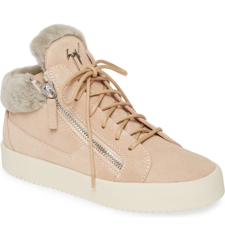 GIUSEPPE ZANOTTI Giuseppe May London Mid-Rise Lace-Up Genuine Shearling Sneaker, Main, color, ROSE/ BEIGE