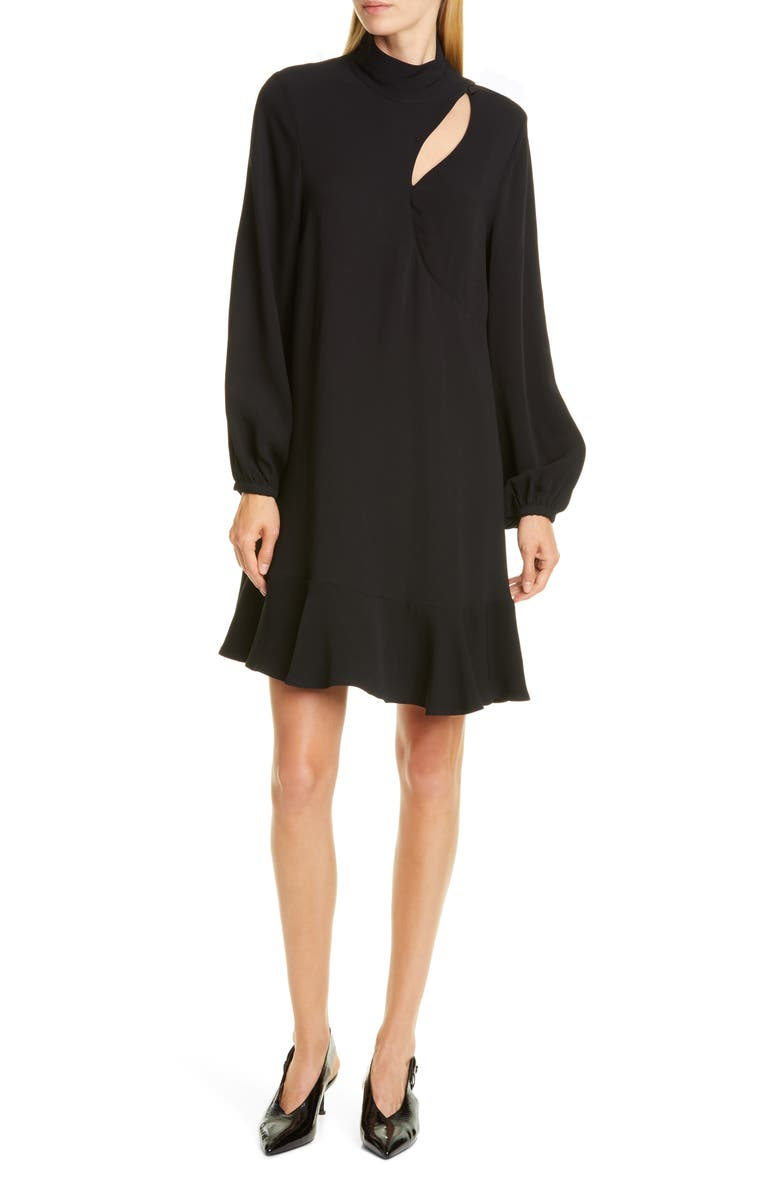 RODEBJER Klement Long Sleeve Shift Dress, Main, color, BLACK
