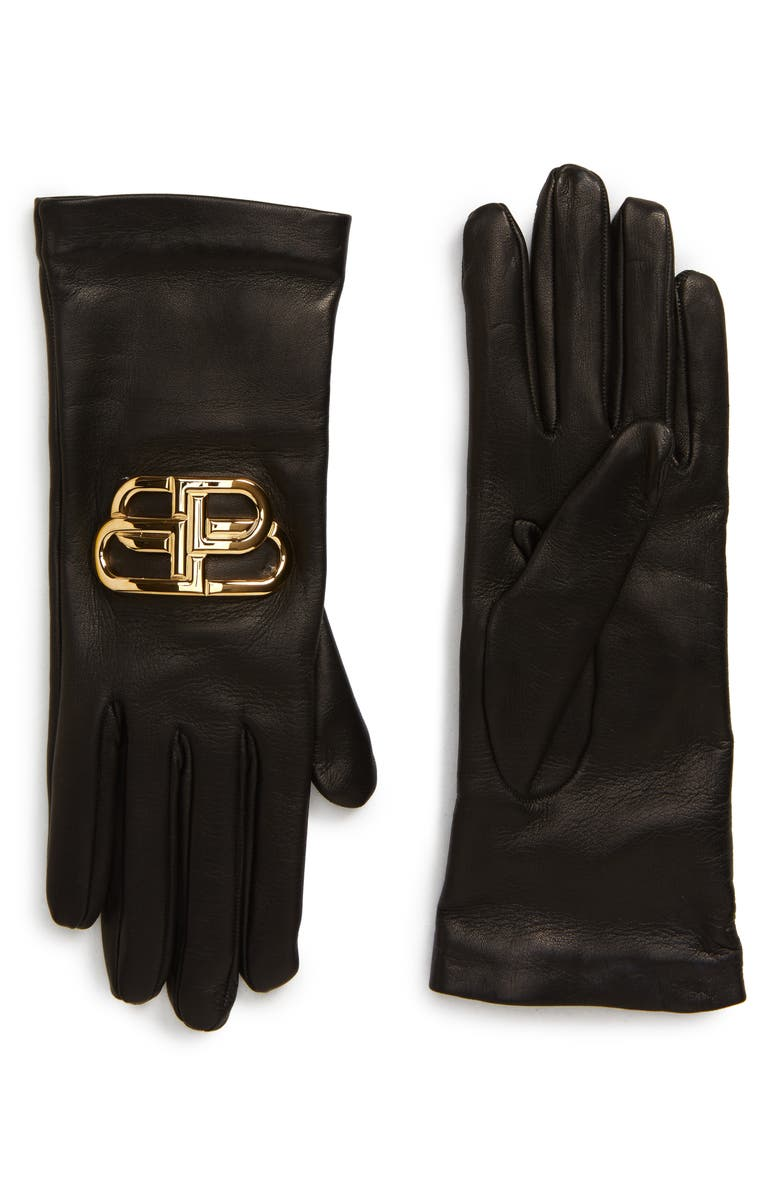 BALENCIAGA Giant BB Logo Leather Gloves, Main, color, BLACK/ GOLD