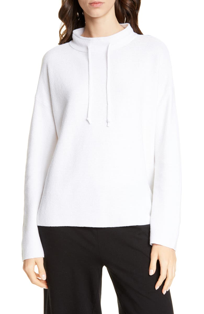 EILEEN FISHER Funnel Neck Rib Sweater, Main, color, WHITE