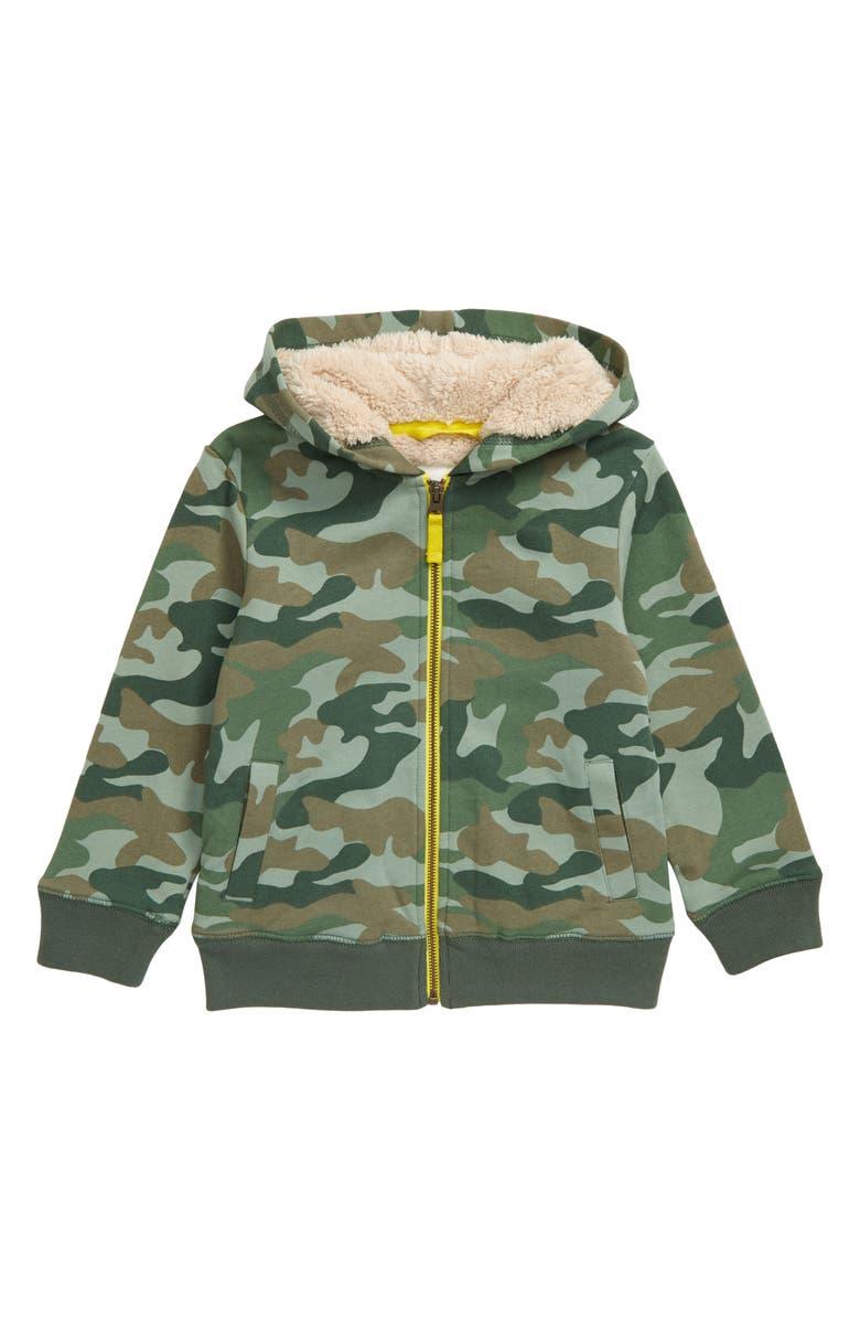 MINI BODEN Camo Fleece Lined Full Zip Hoodie, Main, color, GREEN KHAKI CAMO