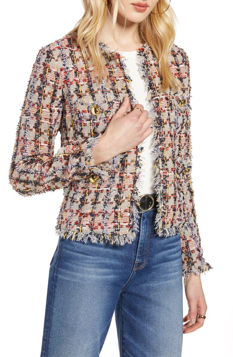 Raw Edge Cotton Blend Tweed Jacket by Halogen®
