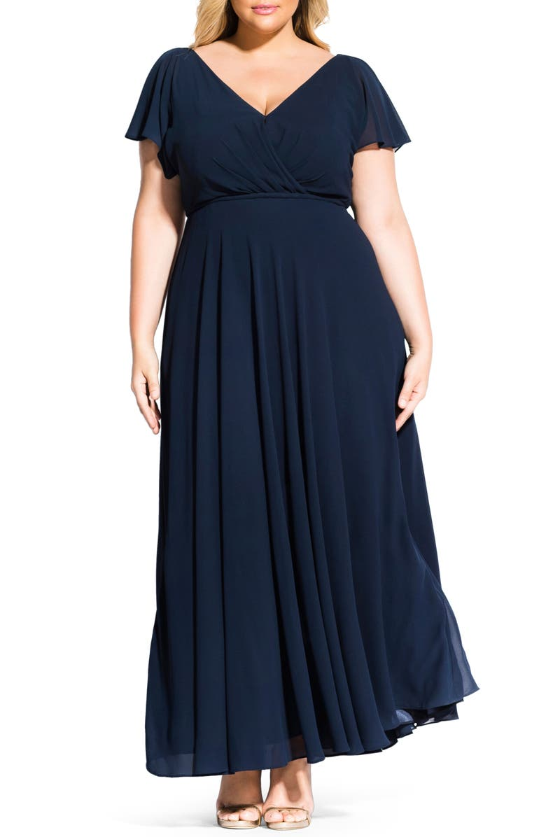 CITY CHIC Sweet Wishes Maxi Dress, Main, color, NAVY