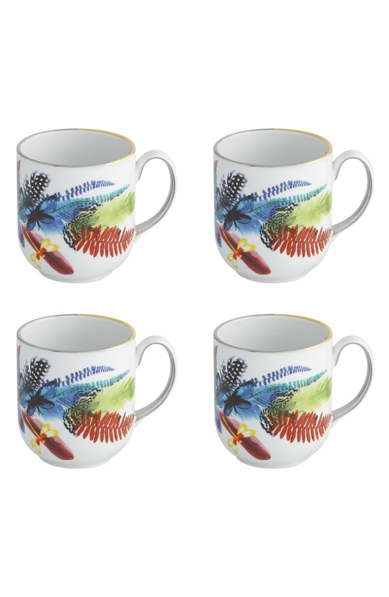 CHRISTIAN LACROIX Caribe Set of 4 Mugs, Main, color, WHITE