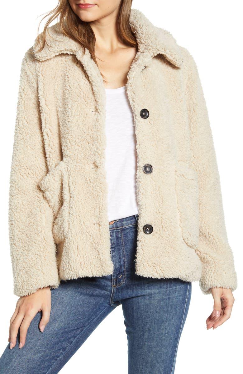 SANCTUARY Faux Fur Teddy Coat, Main, color, 251