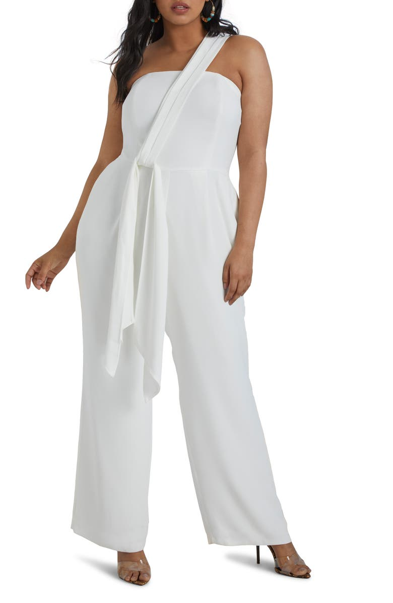 ELOQUII One-Shoulder Strapless Wide Leg Jumpsuit, Main, color, 100
