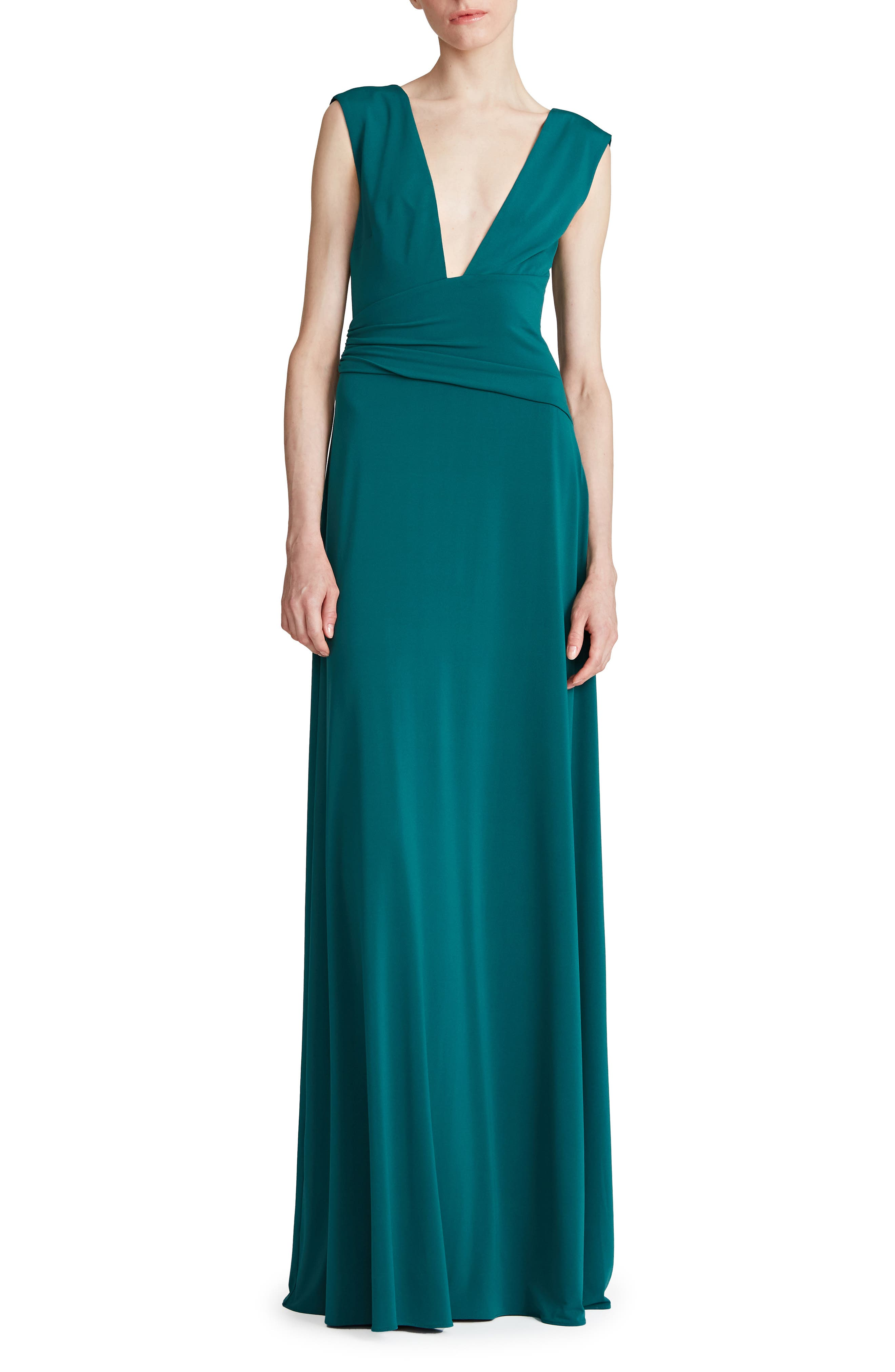 Tory Ruched Plunge Neck Jersey Gown