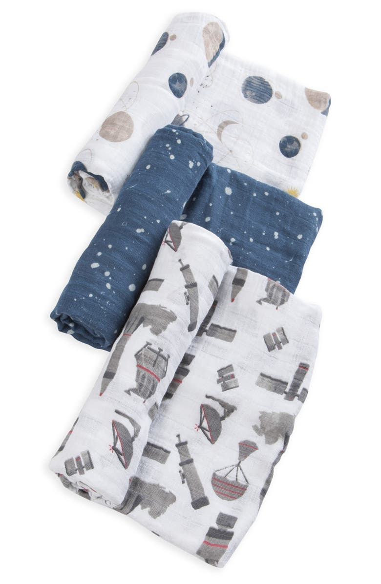LITTLE UNICORN 3-Pack Cotton Muslin Blankets, Main, color, GROUND CONTROL