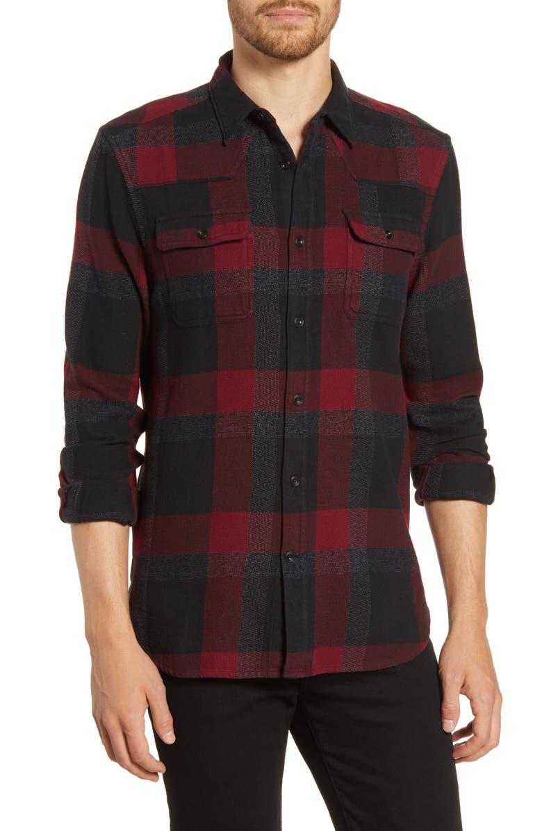 FRENCH CONNECTION Regular Fit Plaid Flannel Button-Up Shirt, Main, color, CRUSHED CHERRY RED