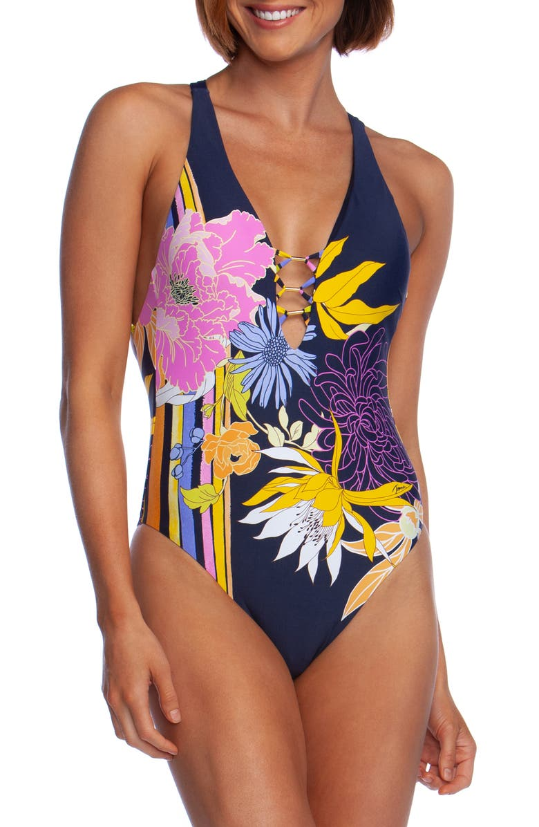 TRINA TURK Bal Harbour V-Plunge One-Piece Swimsuit, Main, color, 460