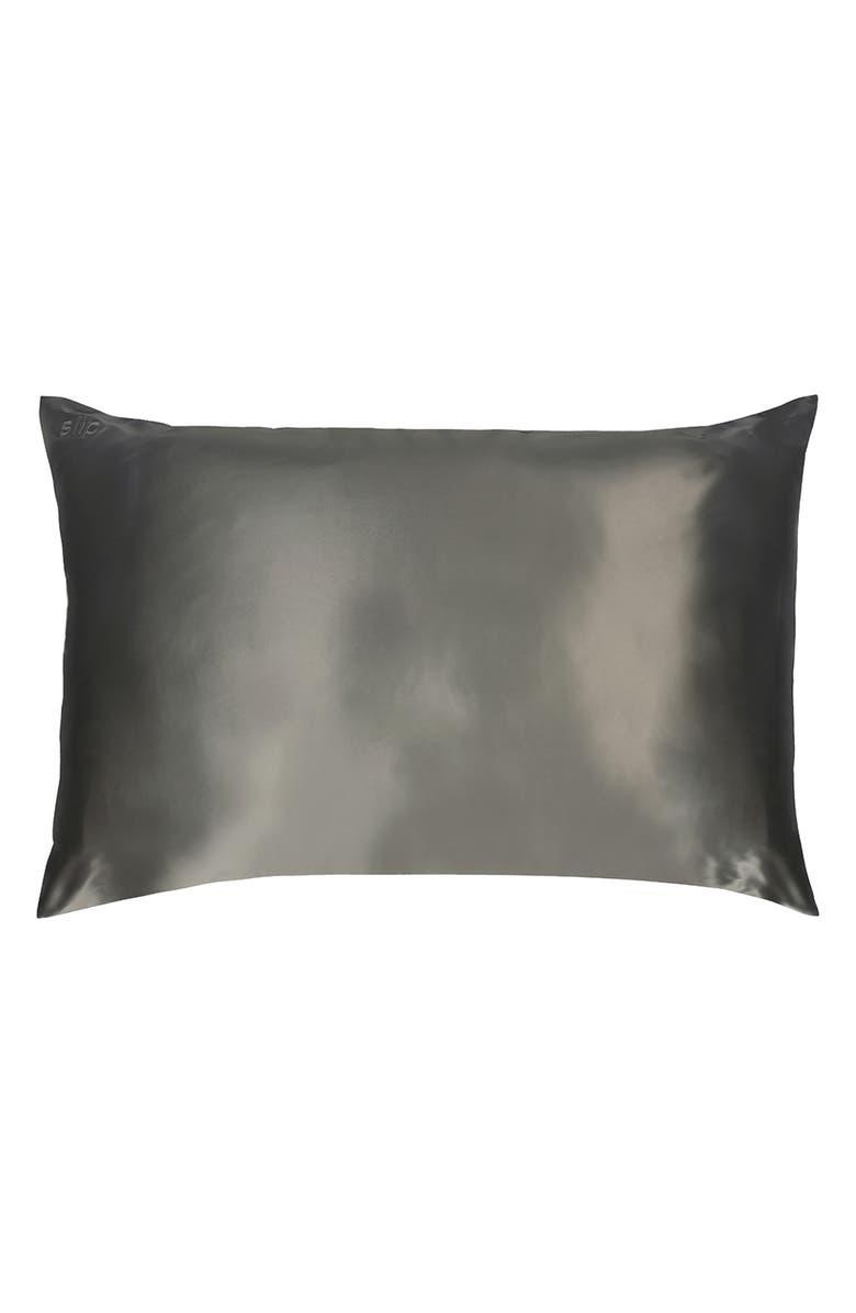 SLIP Pure Silk Pillowcase, Main, color, CHARCOAL