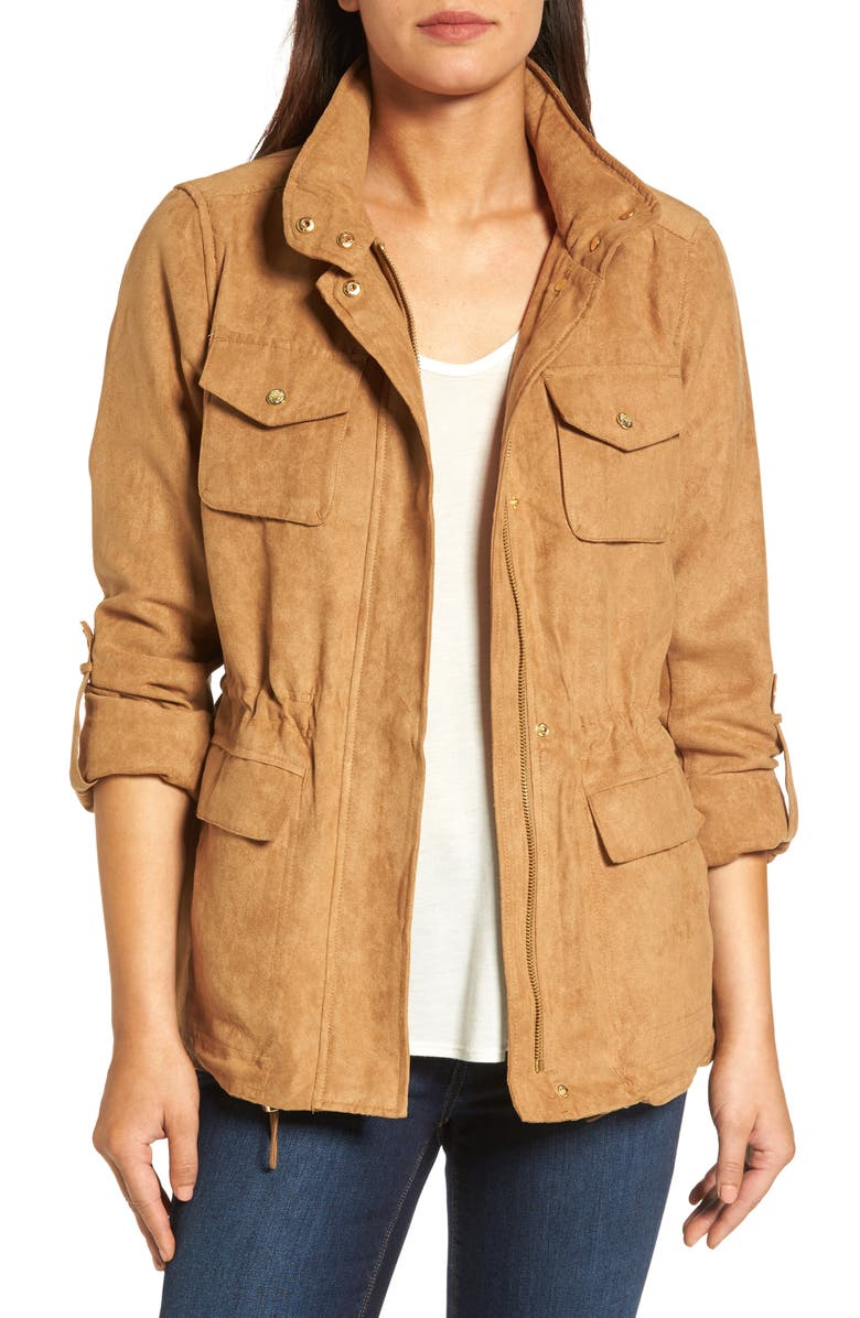 VINCE CAMUTO Faux Suede Utility Jacket, Main, color, 252