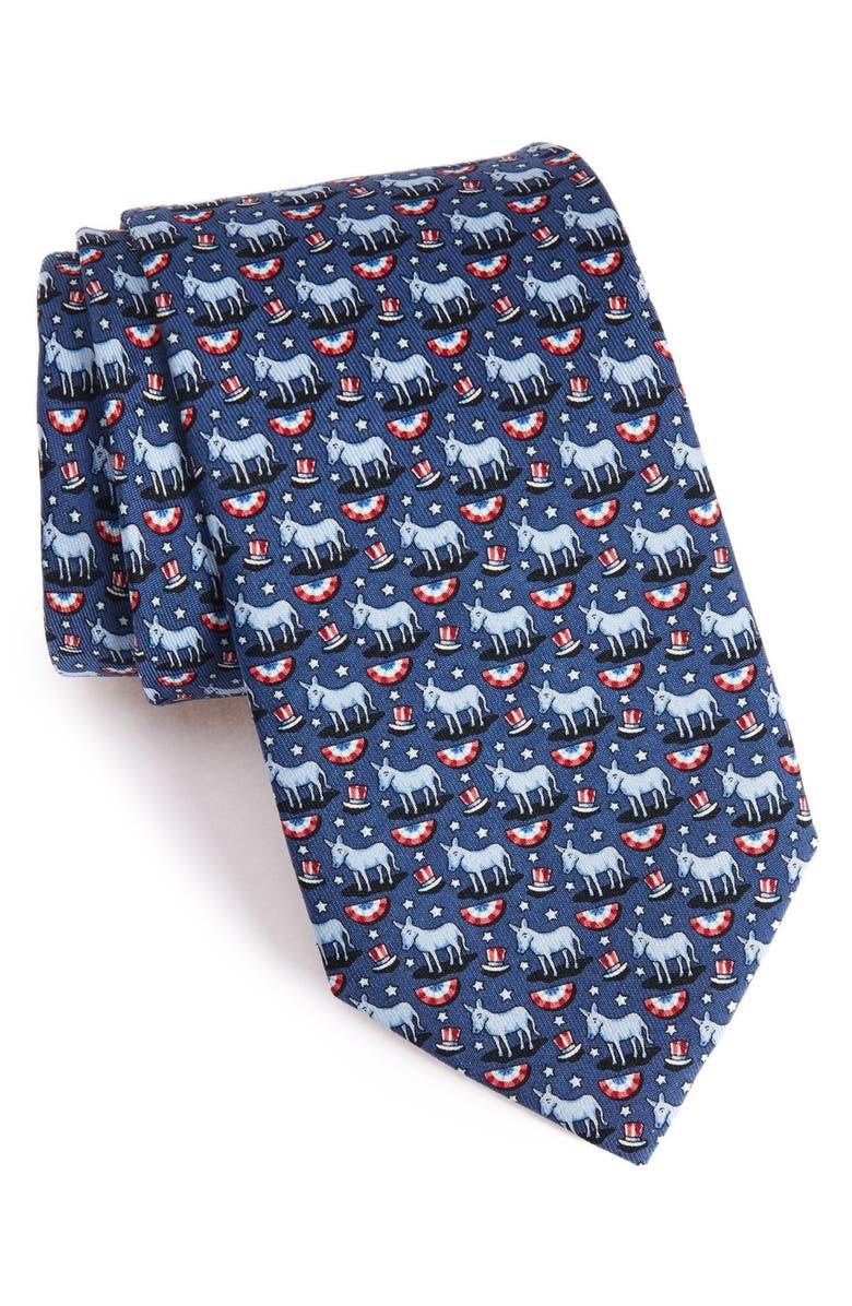 VINEYARD VINES 'Donkeys' Print Silk Tie, Main, color, 410