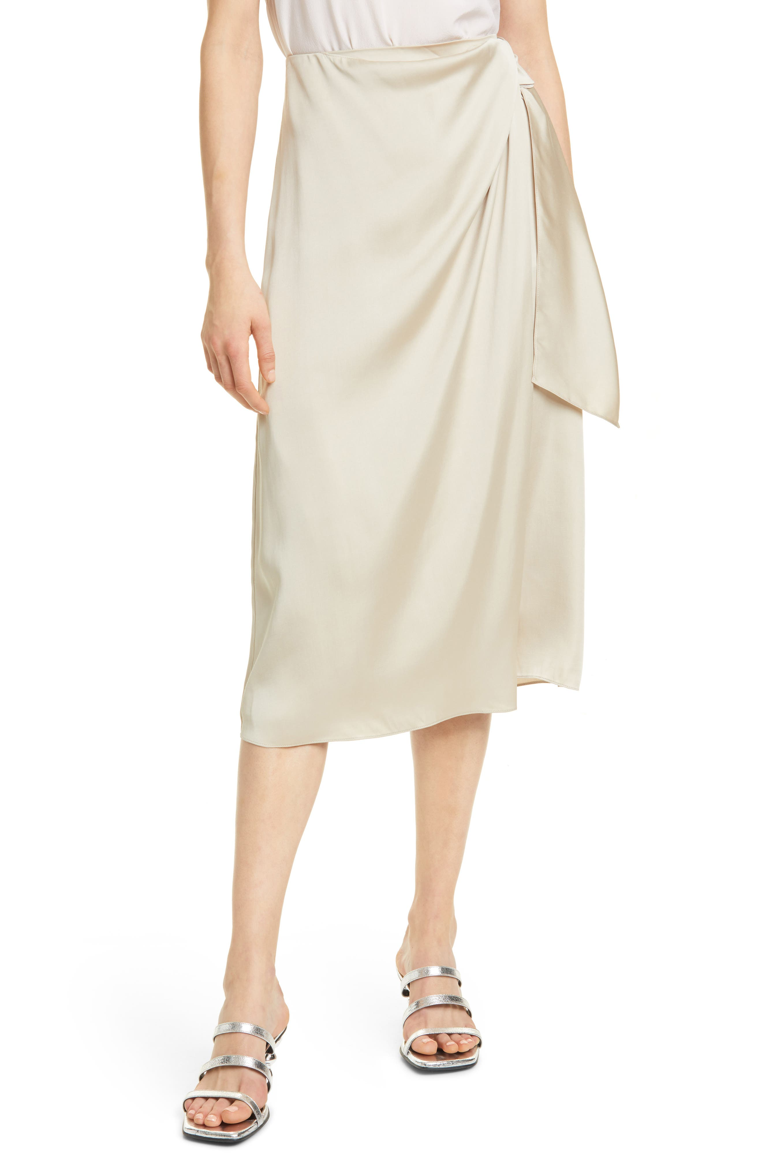 Image of CLUB MONACO Satin Mock Wrap Midi Skirt