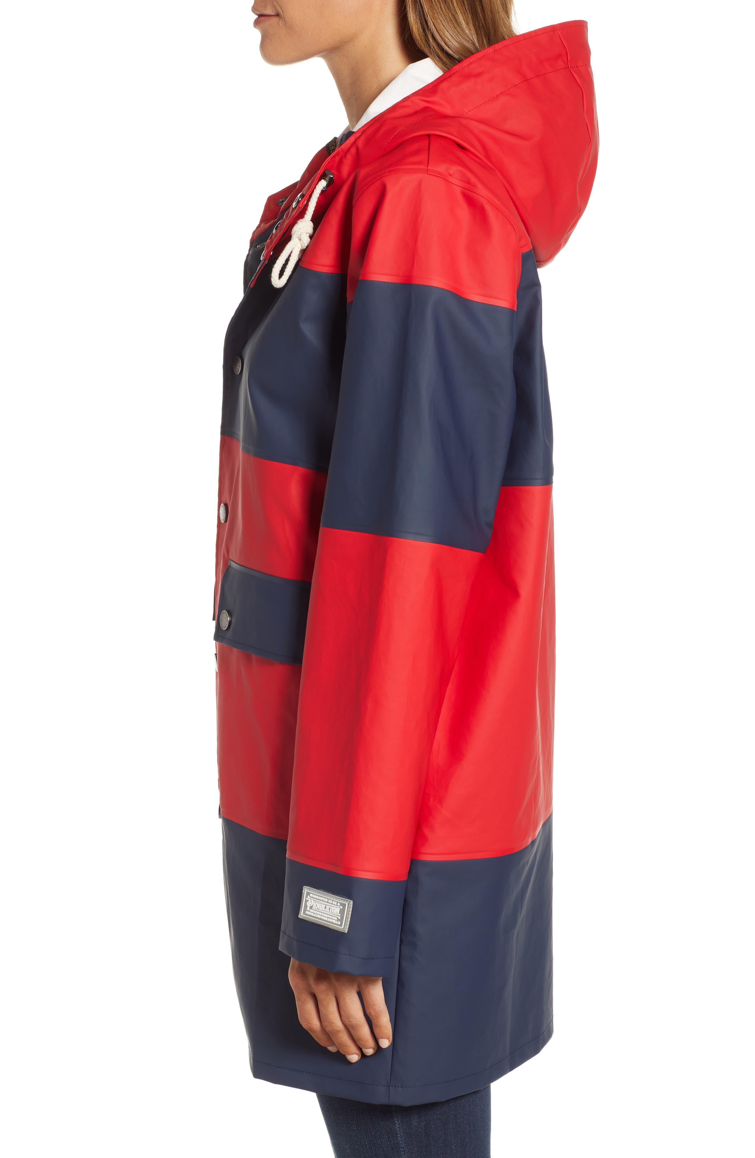 ,                             Seaside Hooded Rain Jacket,                             Alternate thumbnail 4, color,                             RED/ NAVY