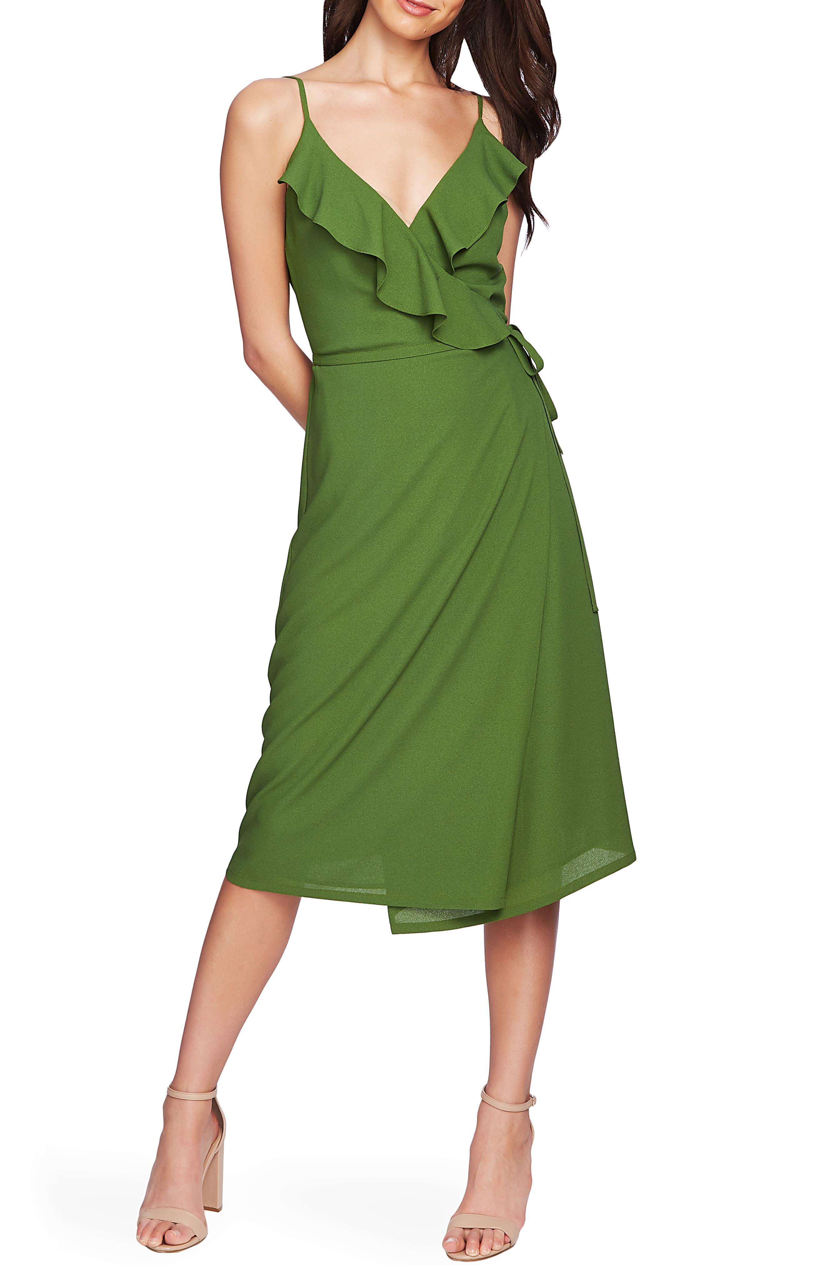1.state Flounce Detail Wrap Dress, Green