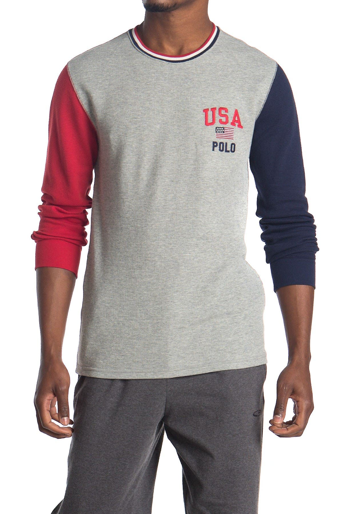 Image of Polo Waffle Colorblock Long Sleeve Top
