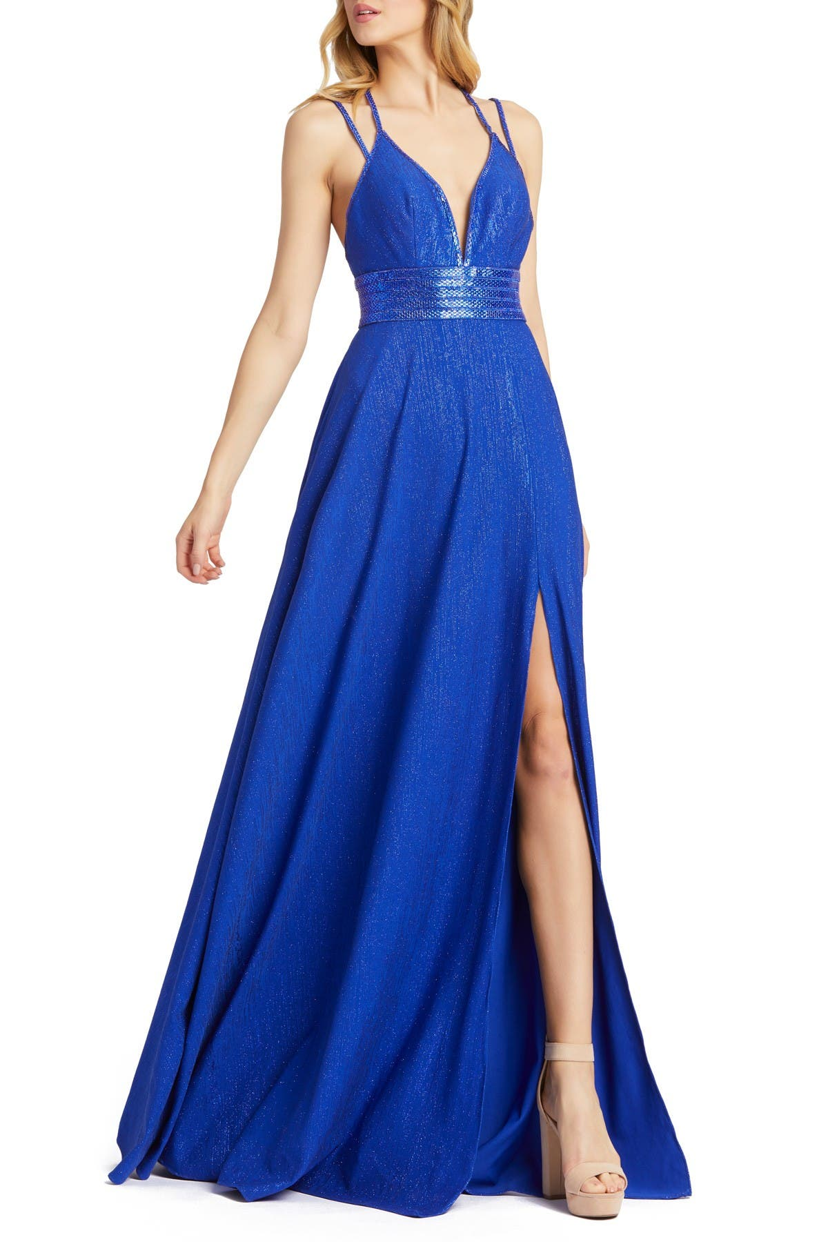 Image of Mac Duggal Double Strap Sparkle A-Line Dress