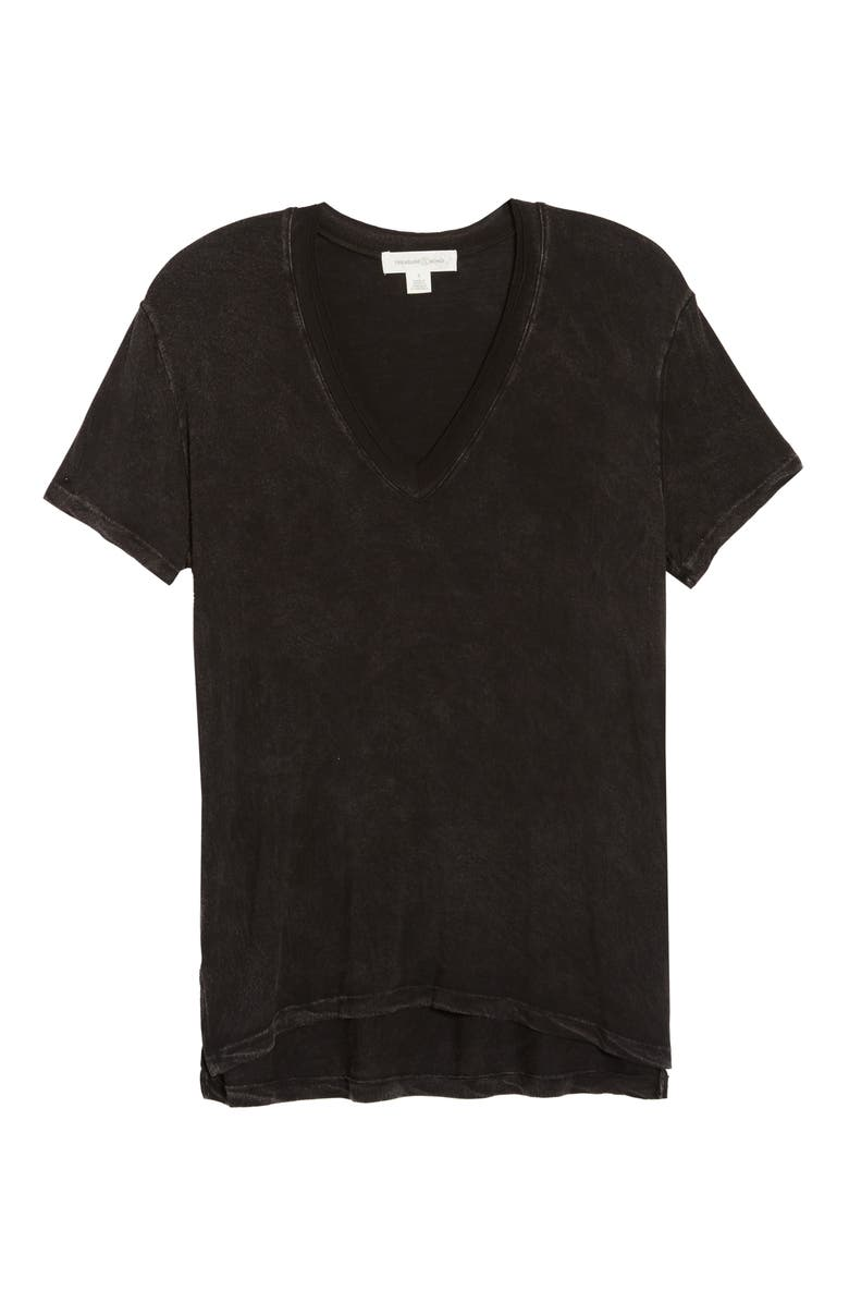 TREASURE & BOND Mineral Wash V-Neck T-Shirt, Main, color, BLACK