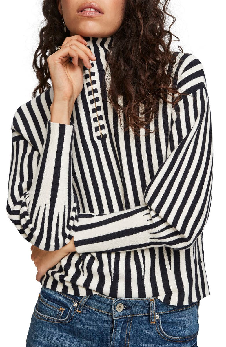 SCOTCH & SODA Stripe Quarter Zip Cotton & Cashmere Sweater, Main, color, COMBO B