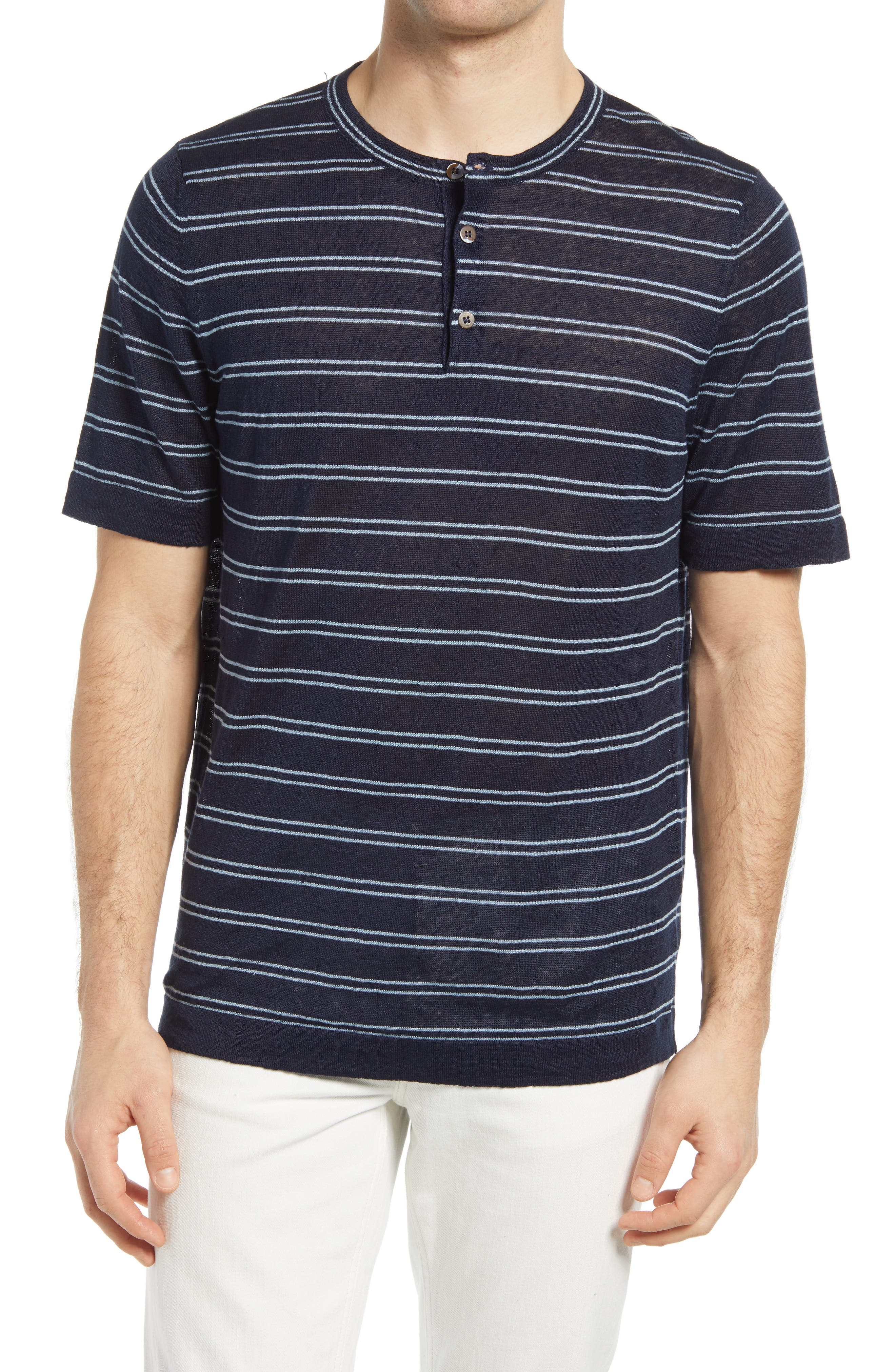 Stripe Linen Short Sleeve Henley