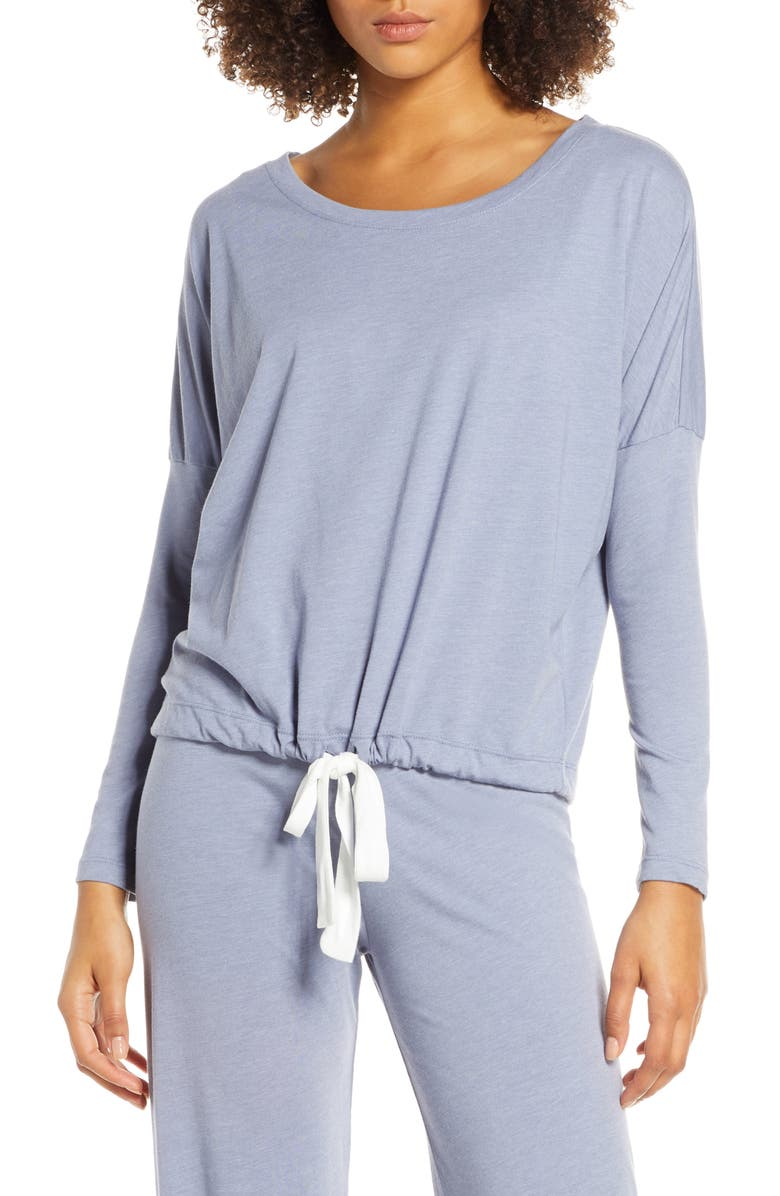 EBERJEY Heather Knit Slouchy Tee, Main, color, OXFORD BLUE