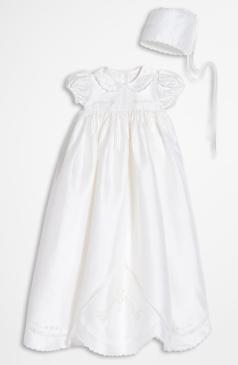 LITTLE THINGS MEAN A LOT Dupioni Silk Christening Gown, Main, color, WHITE
