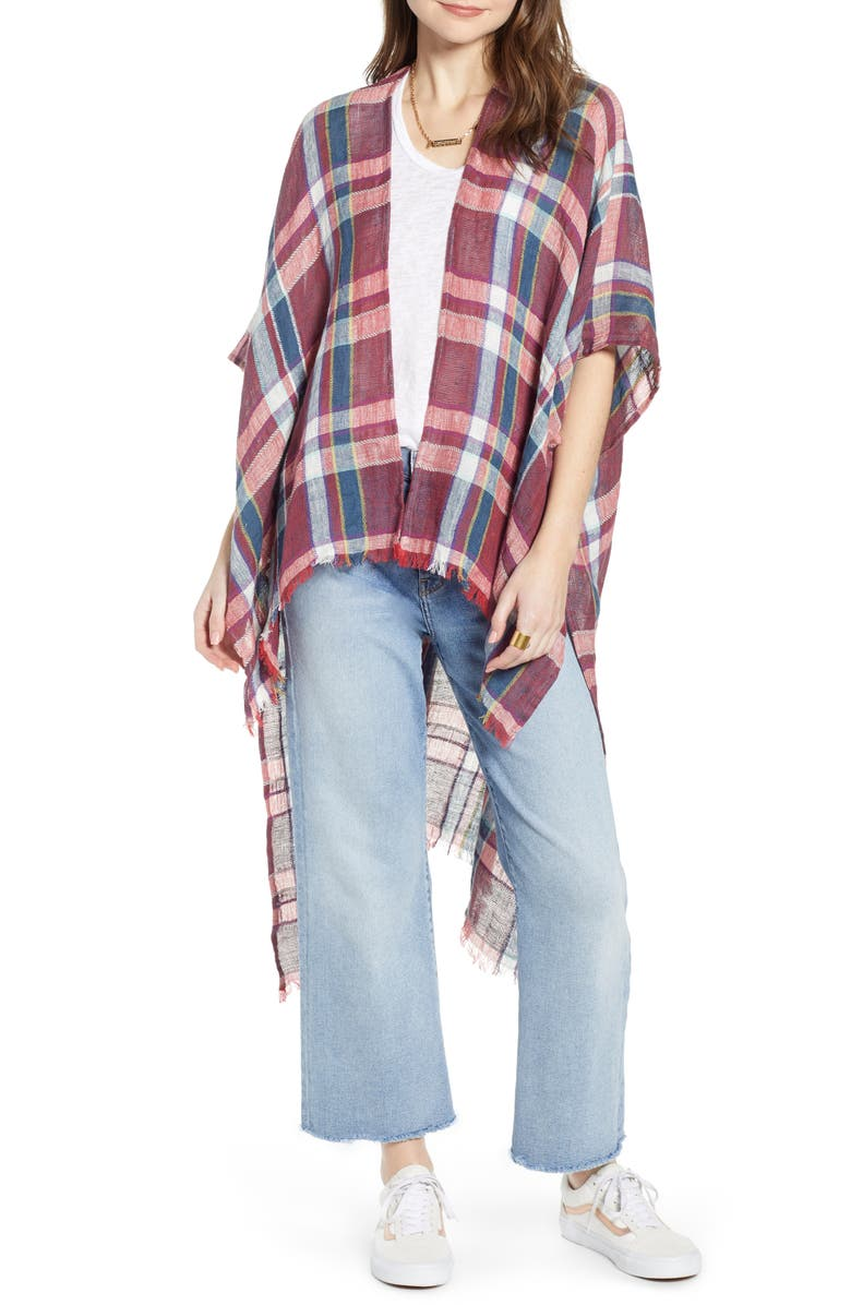 FREE PEOPLE Reverie Plaid Duster, Main, color, RUST