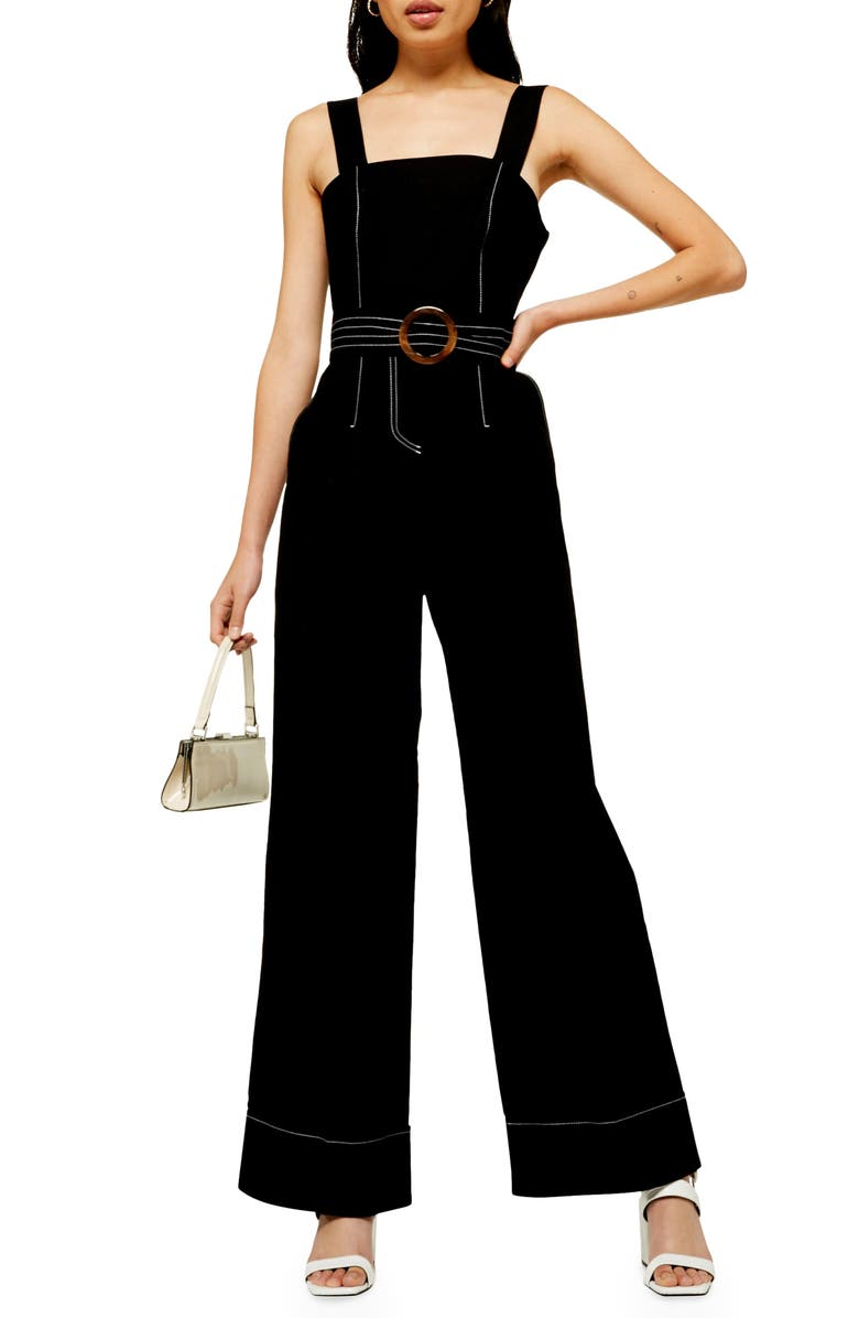 TOPSHOP Topstitch Utility Sleeveless Jumpsuit, Main, color, BLACK
