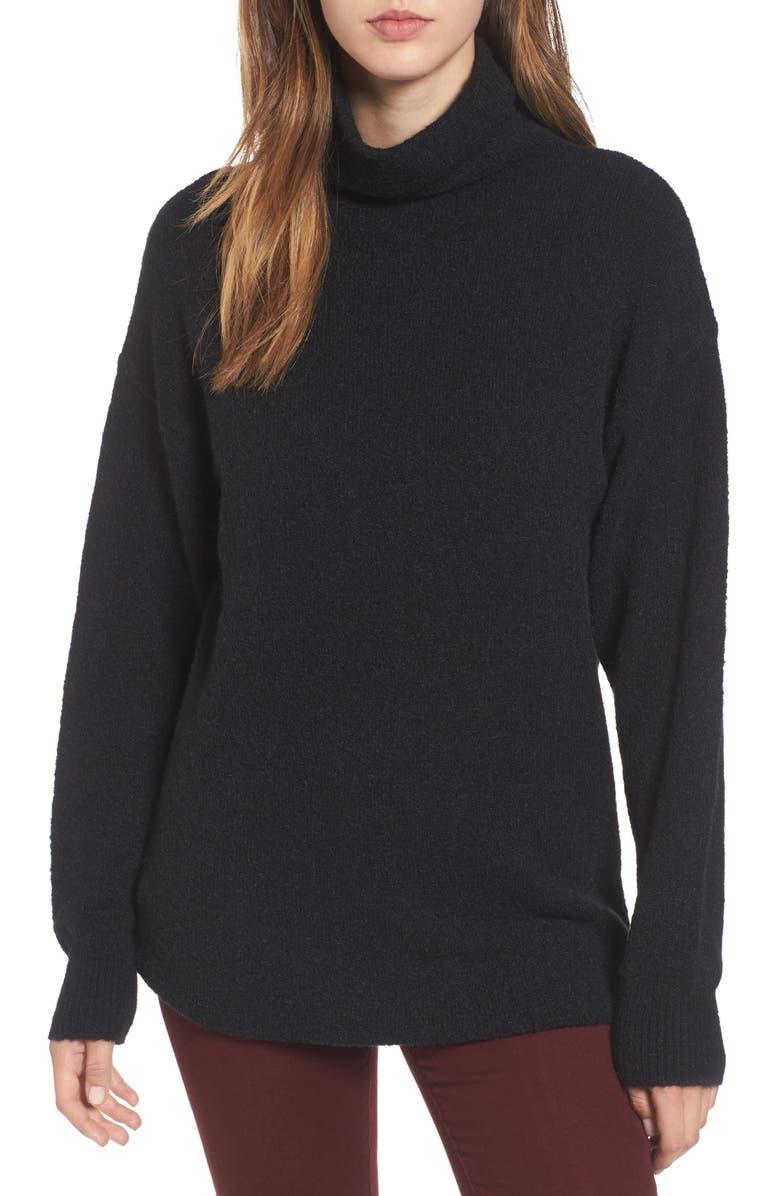BP. Bouclé Turtleneck Tunic Sweater, Main, color, 001