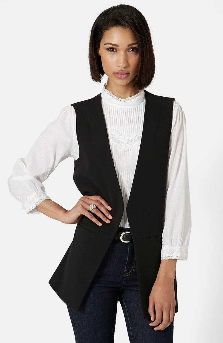 TOPSHOP 'Molly' Longline Vest, Main, color, 001