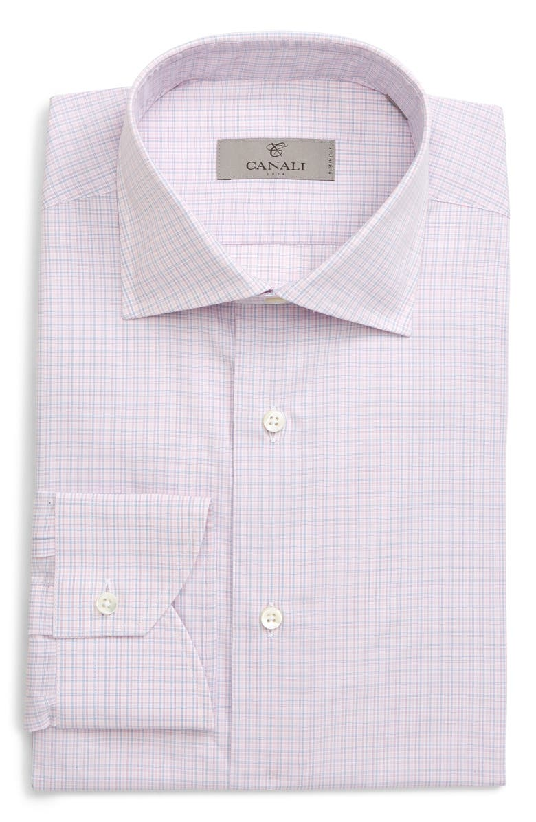 CANALI Regular Fit Plaid Dress Shirt, Main, color, PINK