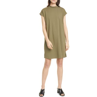 Petite Eileen Fisher Mock Neck Shift Dress, Green