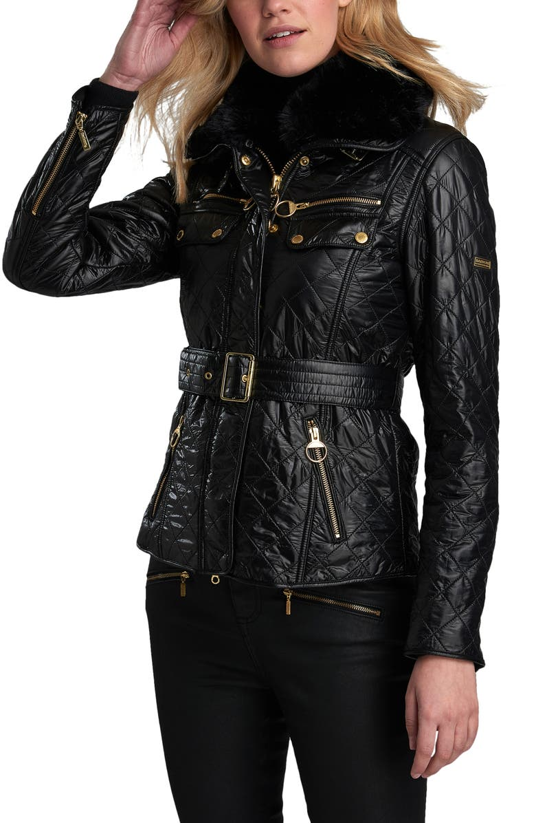 BARBOUR Icons International Faux Fur Collar Belted Moto Jacket, Main, color, BLACK