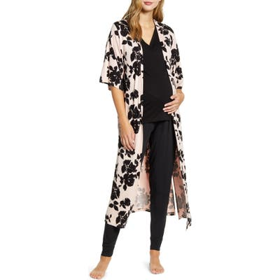 Angel Maternity Maternity/nursing Pajamas & Robe Set, Black