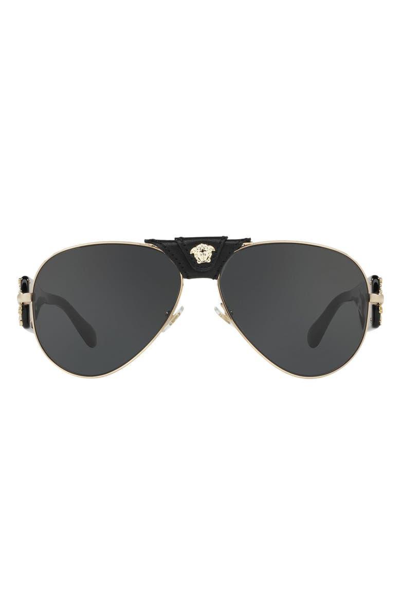 VERSACE Medusa 62mm Aviator Sunglasses, Main, color, GOLD/ GREY SOLID