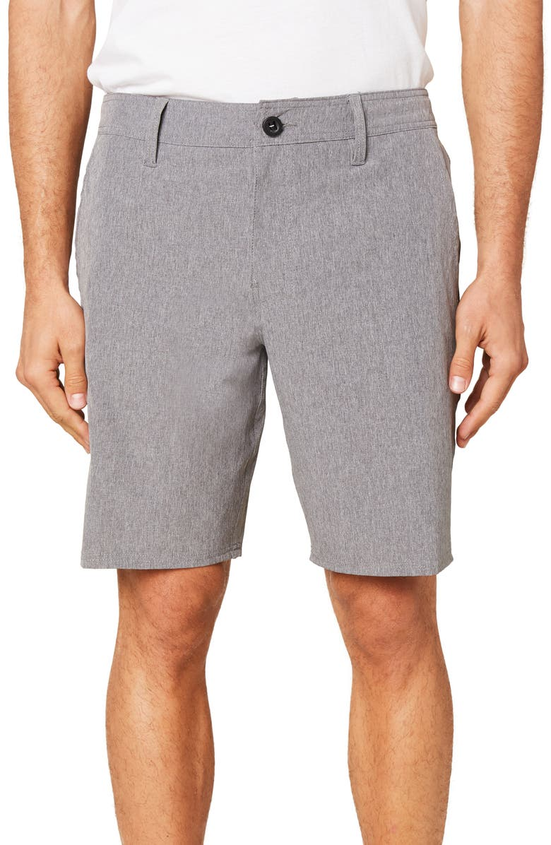 O'NEILL Reserve Heather Hybrid Water Resistant Swim Shorts, Main, color, GREY