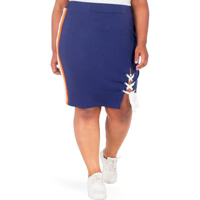 Plus Size Poetic Justice Wilma Lace-Up Pencil Skirt, Blue