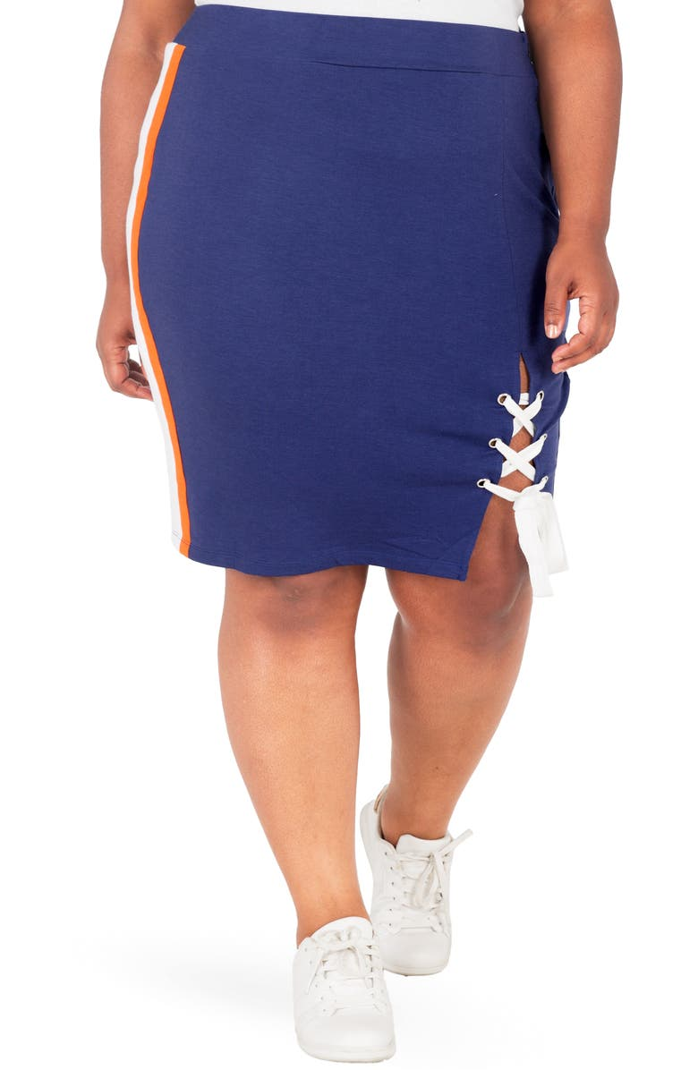 Poetic Justice Wilma Lace Up Pencil Skirt Plus Size
