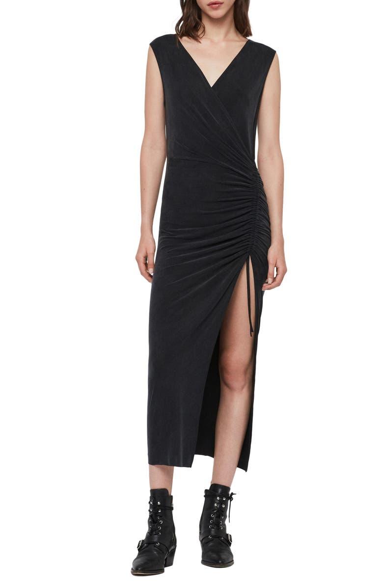 ALLSAINTS Jacka Sleeveless Midi Dress, Main, color, WASHED BLACK
