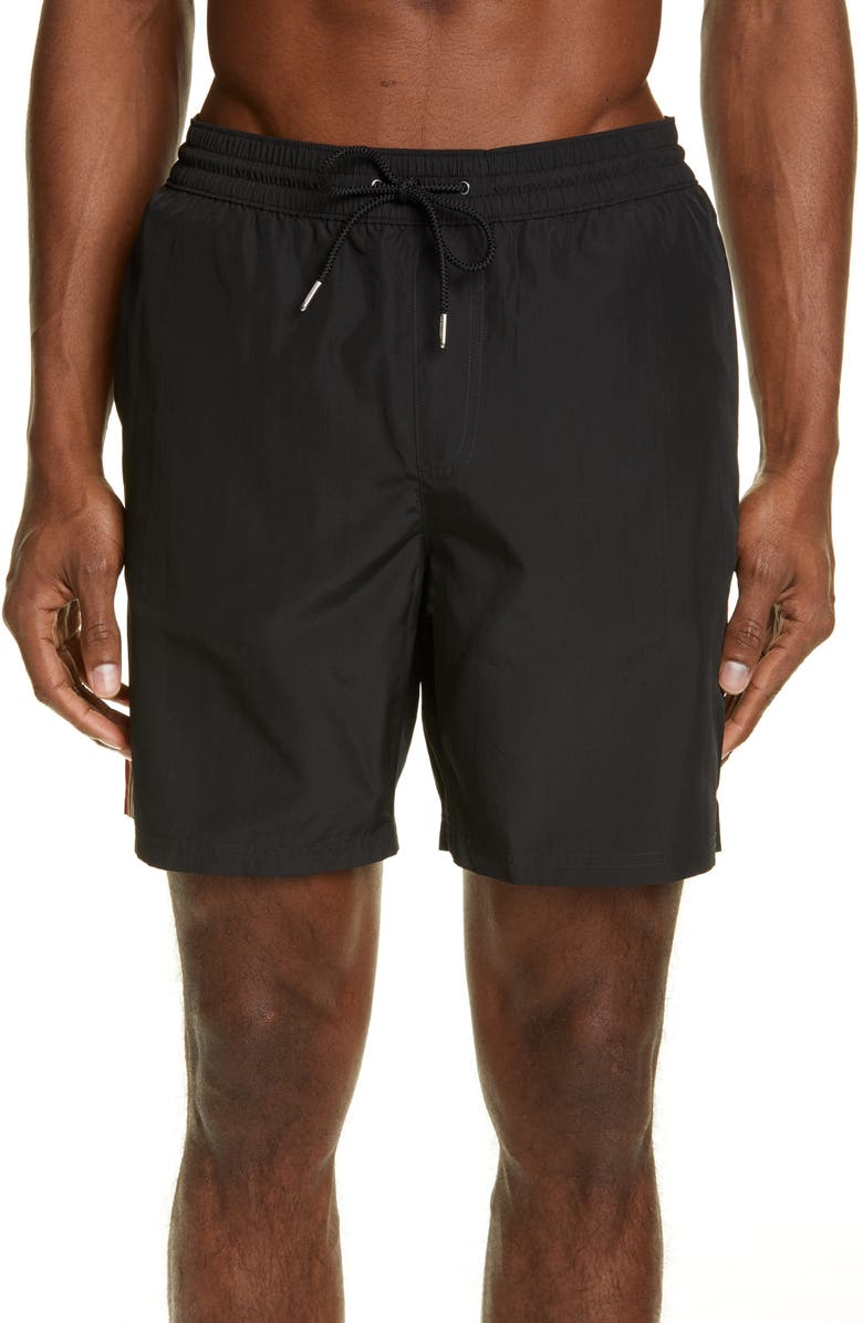 BURBERRY Grafton Swim Trunks, Main, color, BLACK