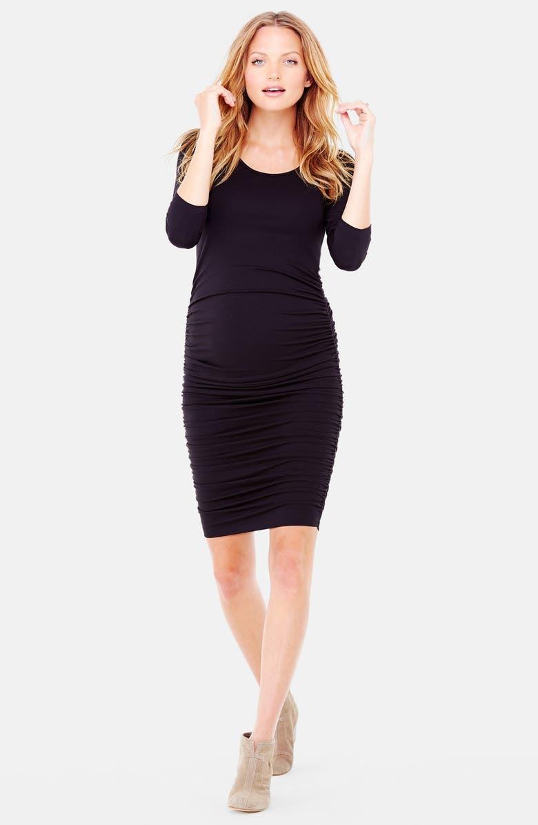 INGRID & ISABEL<SUP>®</SUP> Ingrid & Isabel Shirred Maternity Dress, Main, color, 001