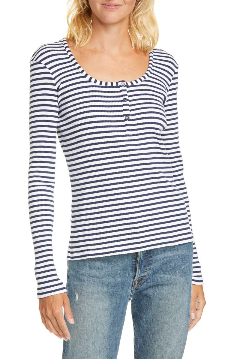 LA LIGNE Stripe Ribbed Henley Shirt, Main, color, NAVY/ WHITE