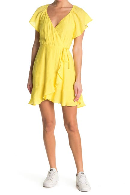 Image of Lush Ruffle Surplice Neck Wrap Mini Dress