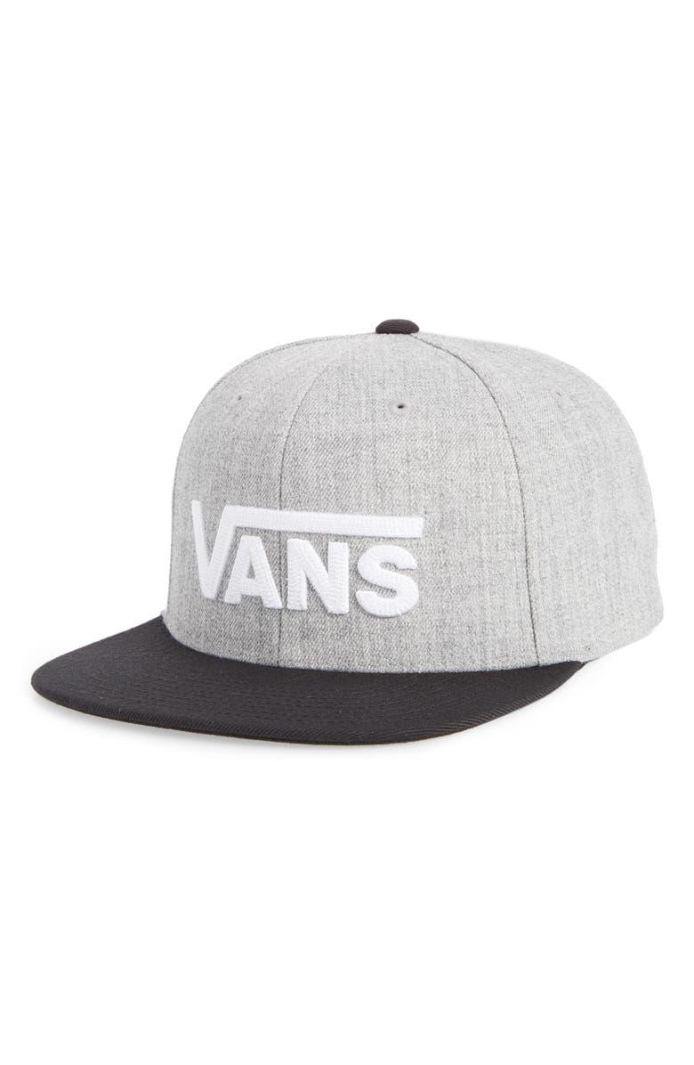 VANS Drop V II Snapback Cap, Main, color, HEATHER GREY/ BLACK