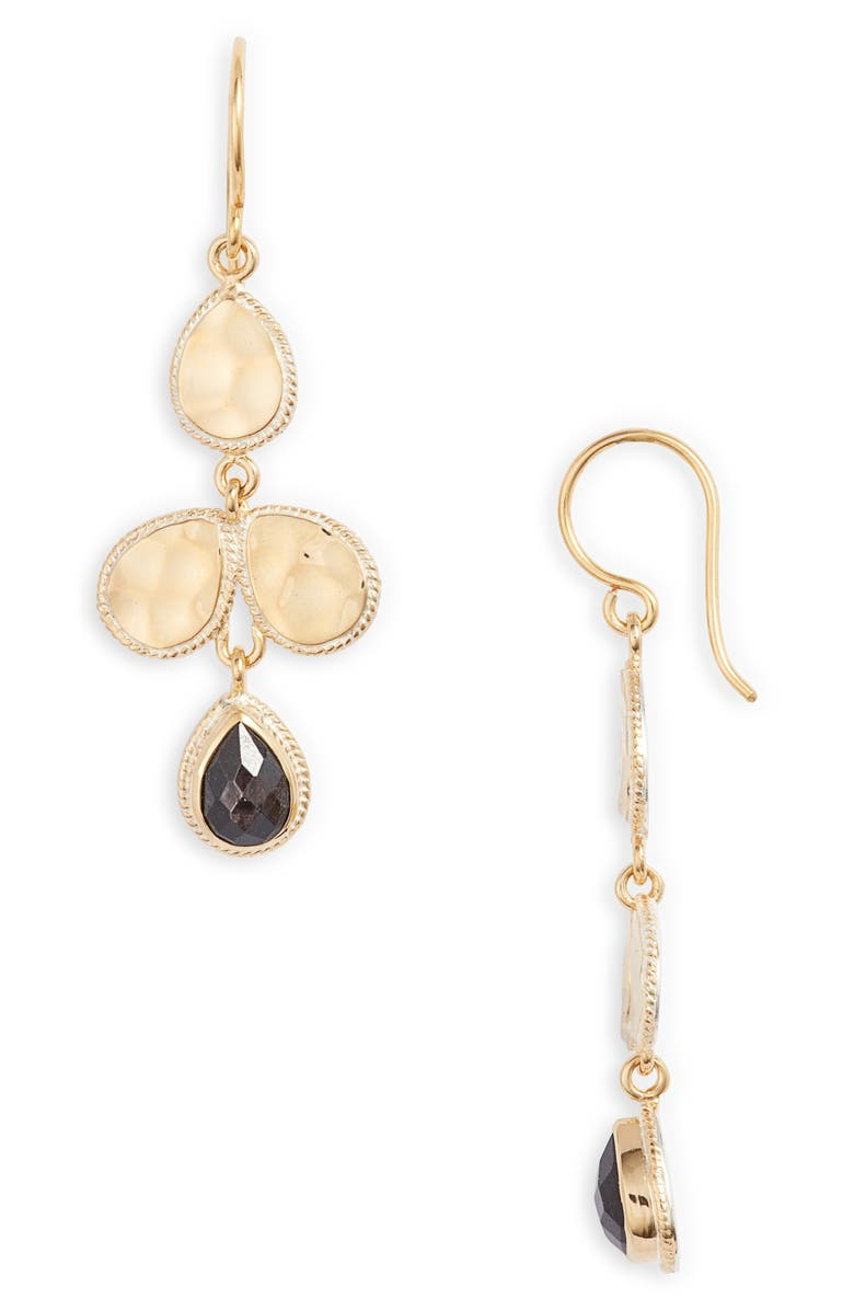 ANNA BECK Hammered Stone Chandelier Earrings, Main, color, GOLD/ BLACK