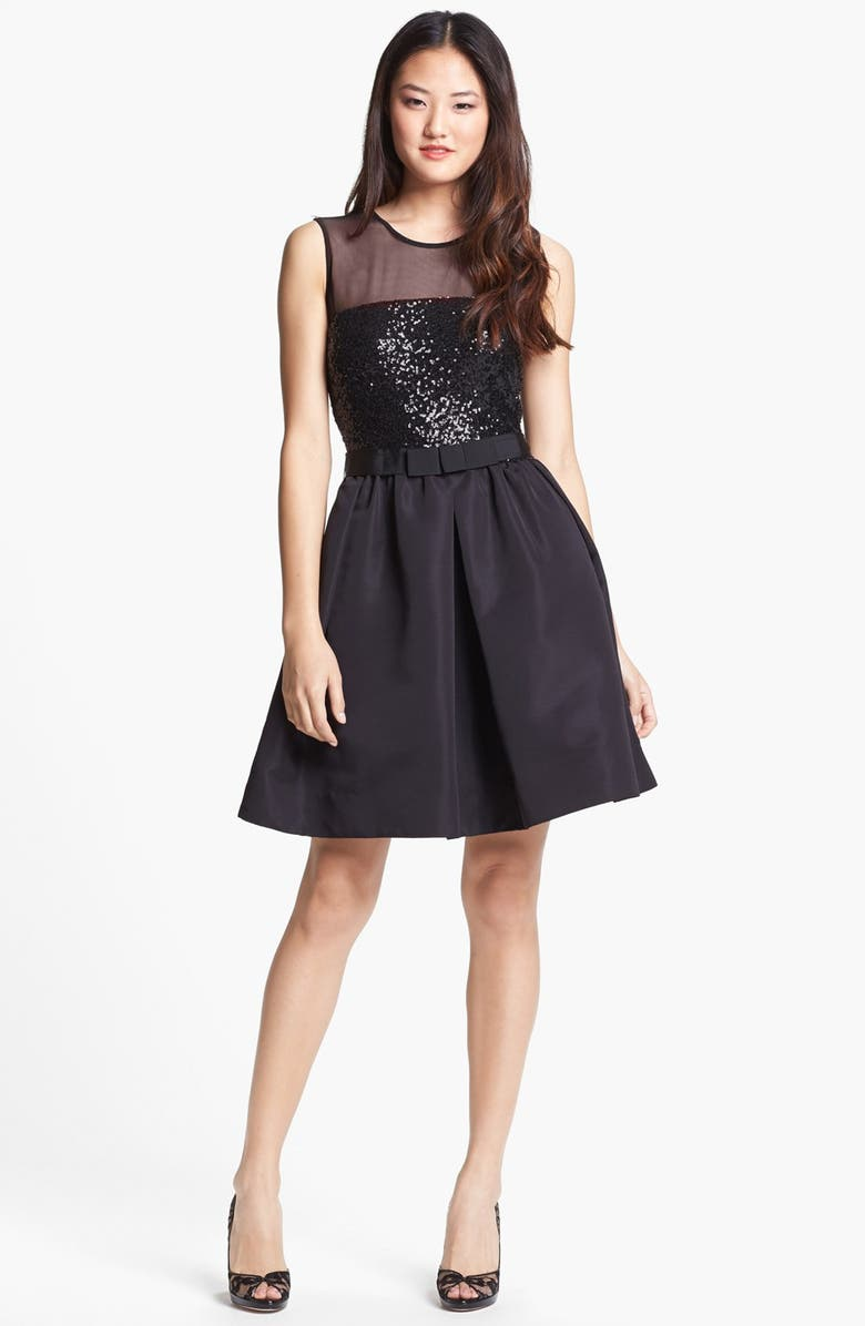 TAYLOR DRESSES Mixed Media Fit & Flare Dress, Main, color, Black